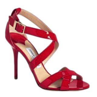 Jimmy Choo Red Patent Lottie Sandals