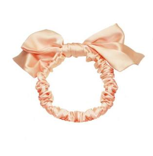 Maguy de Chadirac Peach Silk Bow Detail Turban