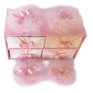 Maguy De Chadirac Pink Marabou Feather Trimmed Powder Puff Box Set