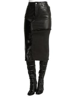 Tom Ford Leather & Denim Patchwork Fitted Skirt