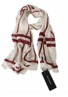 Dolce & Gabbana Cashmere Blend Red & White Scarf