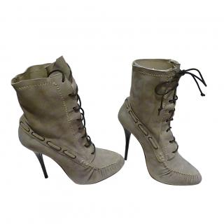 Giuseppe Zanotti stone suede lace up ankle boots