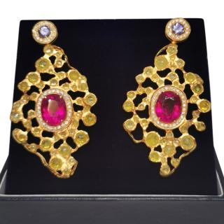 Bespoke Tanzanite Pink Tourmaline, Yellow & White diamond earrings