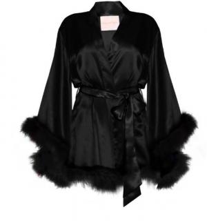 Maguy de Chadirac Black Silk Satin Marabou Feather Trim Kimono