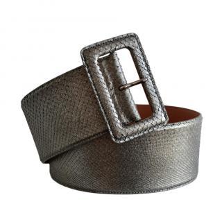 Ralph Lauren Collection Metallic Python Wide Waist Belt