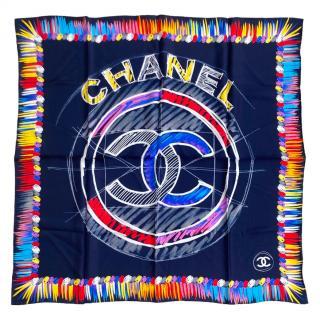Chanel Multicoloured Silk CC Square Scarf