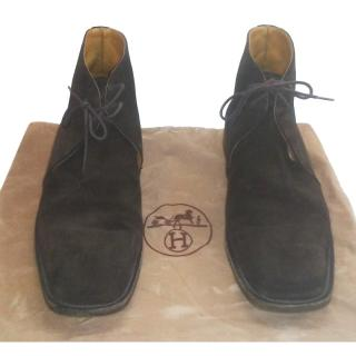 Hermes Dark Brown Mens Lace-Up Suede Boots