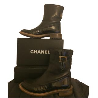 Chanel Black Patent & Smooth Leather Biker Boots
