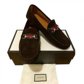 Gucci Webstripe Horsebit Driving Loafers