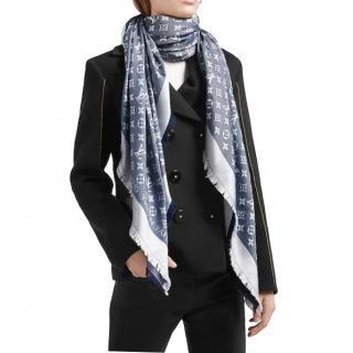 Louis Vuitton blue monogram shine shawl