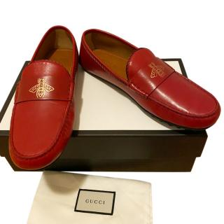 Gucci red leather driving loafers