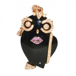 Madame Onyx and diamond owl pendant