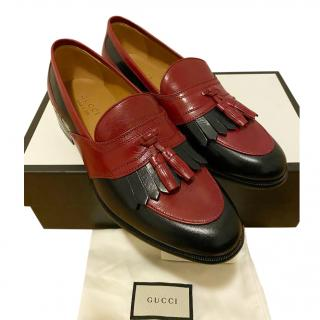 Gucci tassled red leather men's loafers