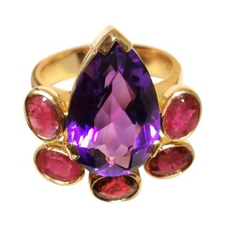 Bespoke Pear Shaped Amethyst Ruby and Garnet ring in yellow gold.