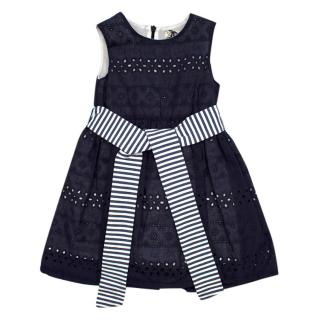 Jo Milano Navy Broderie Anglaise Dress with Contrast Stripe Belt