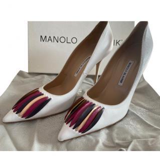 Manolo Blahnik Rouer Leather Fringed White Pumps
