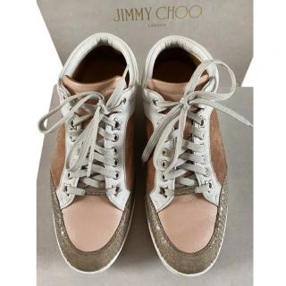 Jimmy Choo Rose Pink Miami Leather, Suede & Elaphe Snakeskin Sneakers