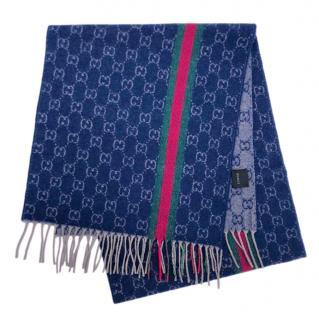 Gucci Blue Supreme Cashmere Knit Scarf