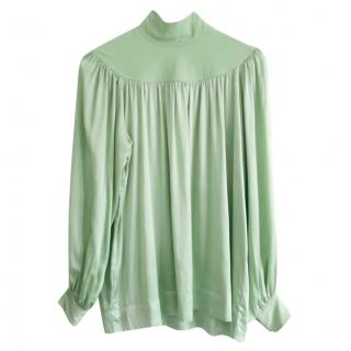 Celine by Phoebe Philo Mint Green Silk High Neck Top
