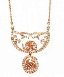 William & Son diamond and morganite pendant necklace