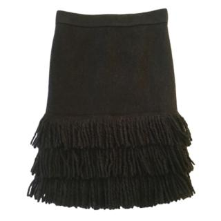 Marc Cain Fringed Charcoal Wool Blend Skirt