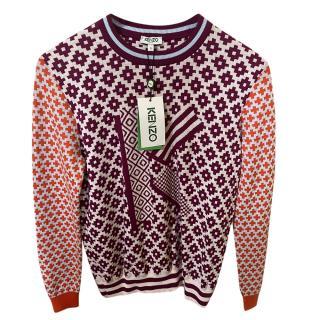 Kenzo Intarsia Knit Wool Blend Jumper