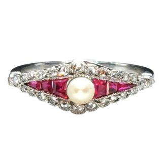 Bespoke Diamond, Ruby & Pearl Set White Gold Ring