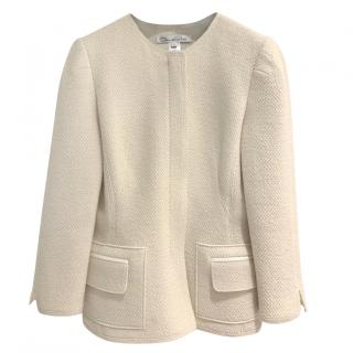 Oscar de la Renta cream merino wool zip front jacket/blazer