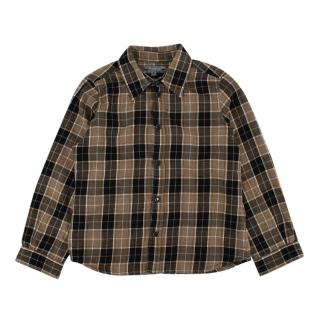 Bonpoint Cream & Black Checkered Cotton Flannel Long Sleeve Shirt
