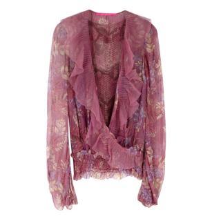 Emanuel Ungaro Pink Floral Silk Ruffled Top