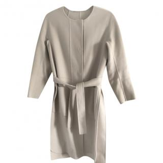 S MaxMara ivory wool split side wrap around coat