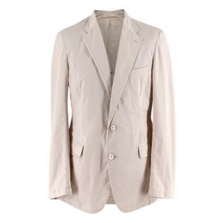 Prada Beige Cotton Single Breasted Blazer Jacket