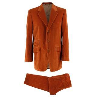 Yves Saint Laurent Orange Cotton Velvet Single Breasted Suit