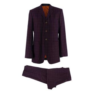 Ozwald Boateng Burgundy Checkered Wool Single Breasted Suit