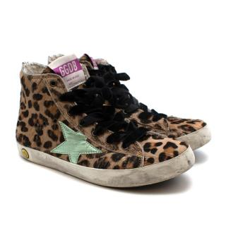 Golden Goose Leopard Pony Hair Francy Sneakers