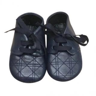 Dior baby quilted navy leather pre walker shoes