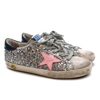 Golden Goose Silve Glitter Super Star Sneakers