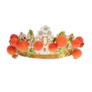 Dolce & Gabbana Crystal and Brass Filligree Sicilia Tiara