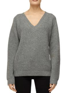 J Brand Grey Cashmere Blend Ribbed Knit Jumper