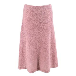 Luisa Beccaria Pink Wool Blend Lace Skirt