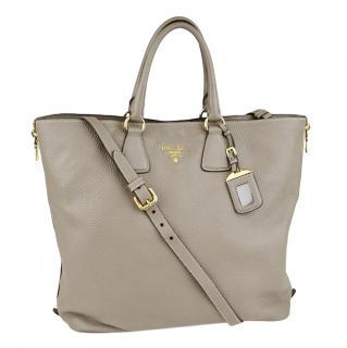 Prada Argilla Vitello Daino Leather Large Shopping Tote Bag