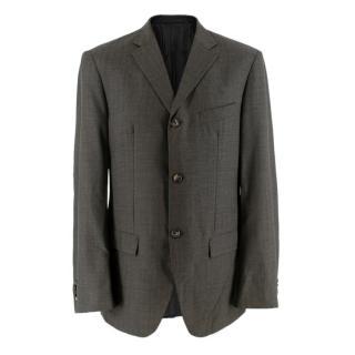 Jil Sander Grey Pin Stripe Wool Single Breasted Blazer