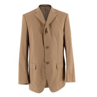 Jil Sander Beige Textured Cotton Single Breasted Blazer