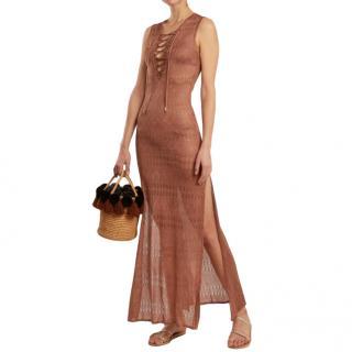 Melissa Odabash Kourtney Knit Lace-Up Maxi Dress