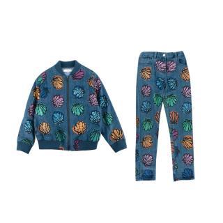 Stella McCartney Blue Denim Shell Print & Sequin Bomber & Jeans