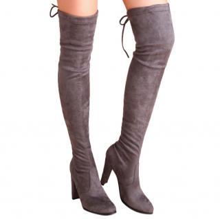 Stuart Weitzman grey suede highland over knee boots