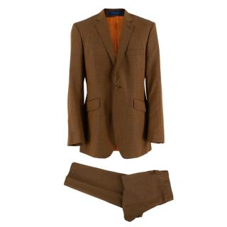 Ozwald Boateng Tan-Ocre Checkered Wool Blend Single Breasted Suit