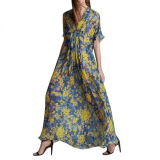 Max Mara Blue & Yellow Floral Silk Chiffon Ruffled Maxi Dress