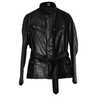 Ralph Lauren Black Label padded black  leather jacket