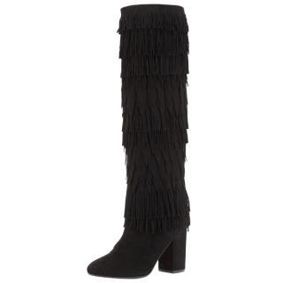 Aquazurra Woodstock Black Suede Fringe Boots